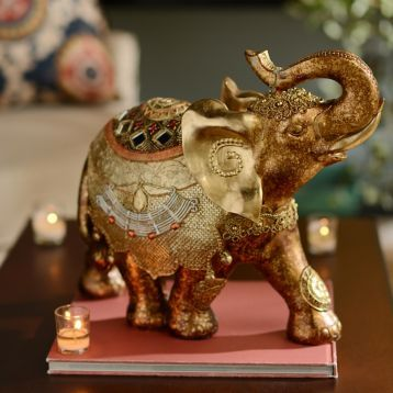 Amazing Enchanting And Exotic! Gold Resin Ornate Elephant Statue. #kirklands  #BohemianChic