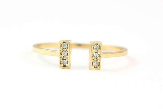 Open Diamond Ring Diamond Cuff Ring Open Pave Diamond Ring