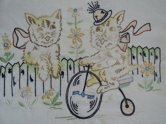 1930s Embroidered Cat & Scotty Dog on Bike, small pillow cover, Vogart style, Novelty embroidery