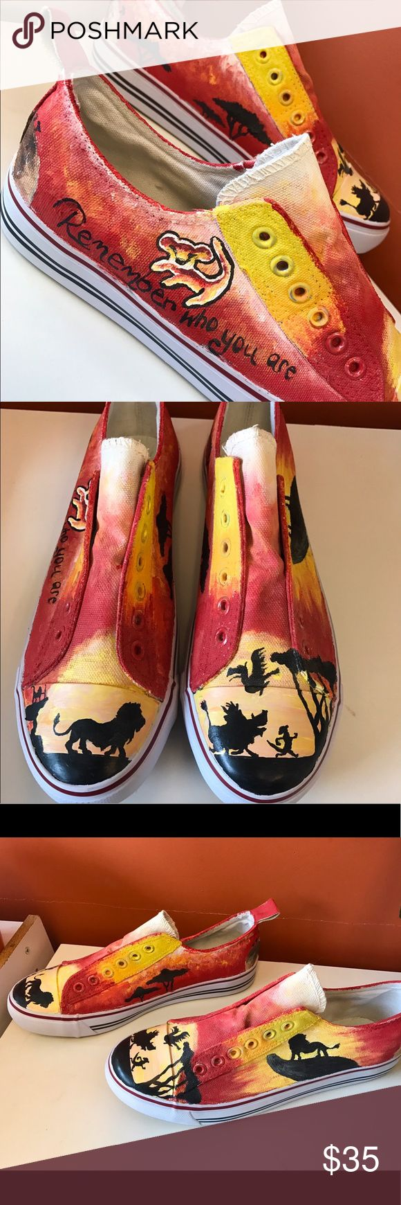 Hand-Painted Lion King Shoes!! Brand NEW!! ❤ Hand-Painted (by me) Lion King Shoes. NEVER WORN!! They are a size 8 but are a bit snug because of the paint. These will need to be sprayed with weather proof if you plan to wear them a lot. Painted them one day just for fun but never wore them! The brand is Epic Step but they look like converse without laces! ❤️ Will be shipped in a shoe box, they didn't come in one so it will not be an original box! Disney Shoes Sneakers