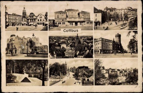 Cottbus Germany Postcard Cottbus Brandenburg Markt Bahnhof Stadttheater Stadtmauer Sylvia Neumann Bahnhof Brandenburg Strassenkarte