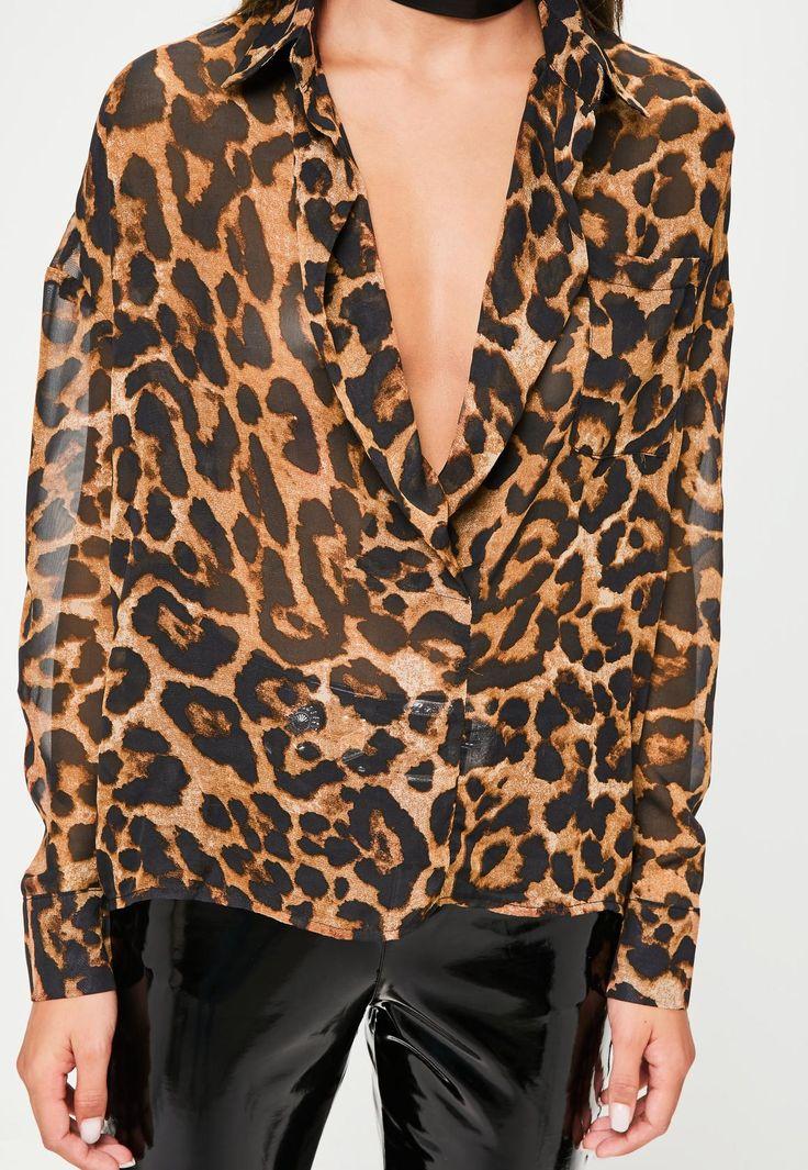 Missguided - Petite Brown Leopard Print Shirt