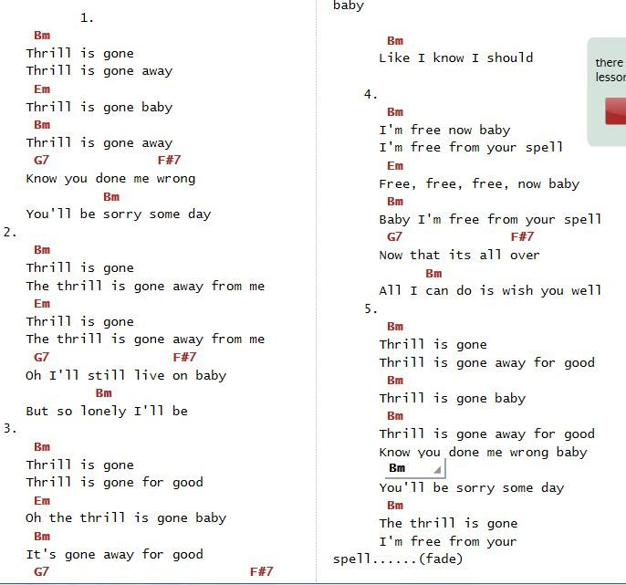 King Of The Hill Guitar Chords