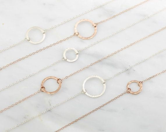 The Delicate Karma Circle Necklace, Everyday Necklace, Hammered Gold Circle, Delicate Necklace, Classic Circle Necklace, Circle Of Life.