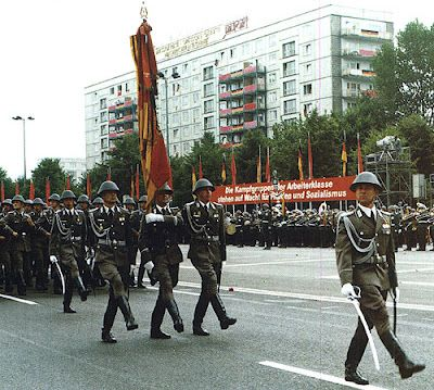 East German Army infantrymen marching down Berlin's Karl-Marx-Allee in the 1987 Republic Day Parade.