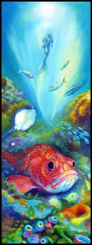 """Underwater Cathedral"" oil on canvas, 102x40cm, artist Darina Denali, www.darinadenali.co.nz"