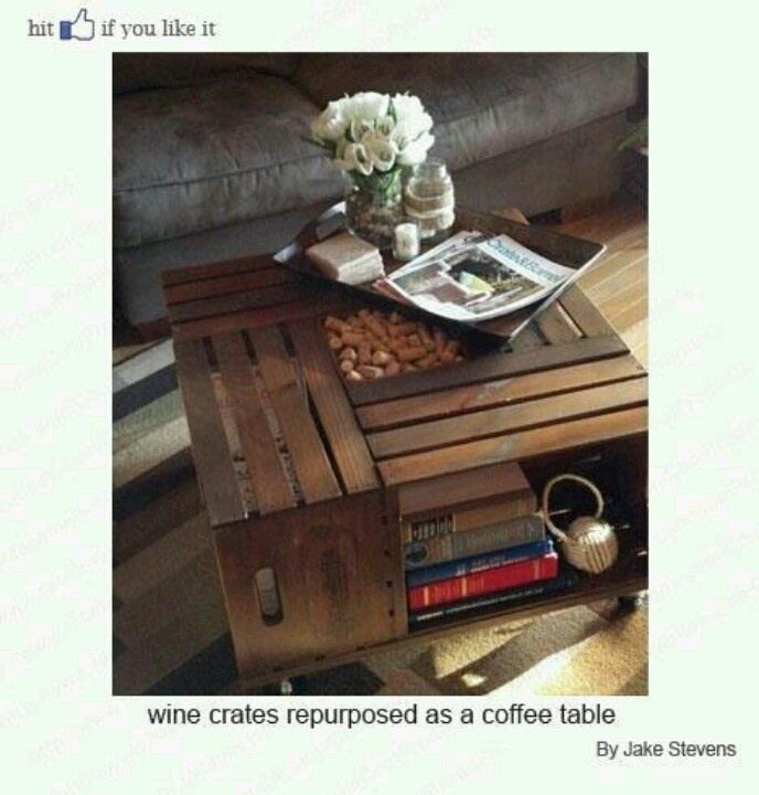 Looks simple enough....Coffe Tables, Crate Coffee Tables, Vintage Chic, Crates Tables, Wine Crates, Vintage Wine, Crates Coffee Tables, Wooden Crates, Crafts Stores