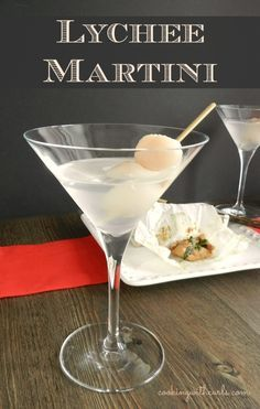 Lychee Martini - 3 Oz premium vodka, 1 Oz. lychee juice, 1 Oz orange liqueuer (Cointreau, triple sec), 1-2 lychees, crushed ice. Half fill shaker with crushed ice. Add vodka, lychee juice, and orange liqueur and shake. Pour martini into glass, garnish with lychees on a toothpick