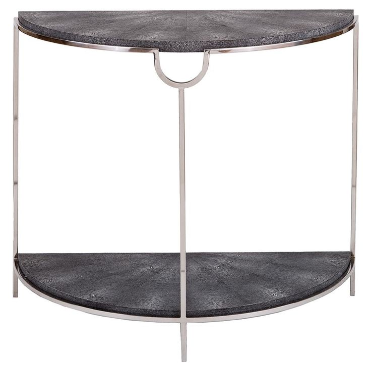Moxie Regency Demilune Charcoal Shagreen Silver Console Table | Kathy Kuo Home