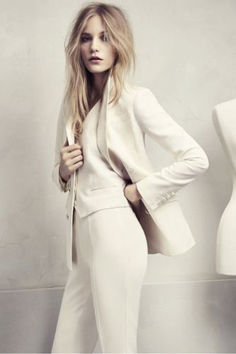 White. Three-piece suit. HM Conscious Collection