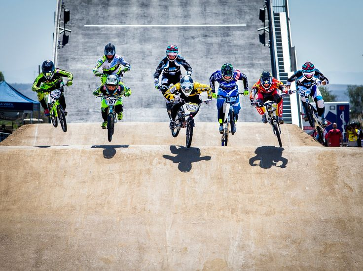 Olympic Training - The best American BMX racers in the world race down the first straight on the Beijing Olympic BMX track replica. Racing on tracks of this caliber is preparing them for their individual shots at making the 2016 Olympic BMX team.