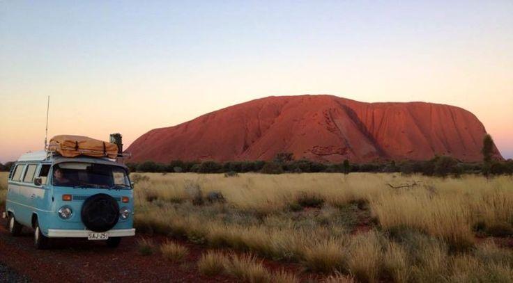 74 Blue Kmbi Camper in Uluru ☮ #VWBus #volkswagen bus pinned by http://www.wfpblogs.com/author/thomas/
