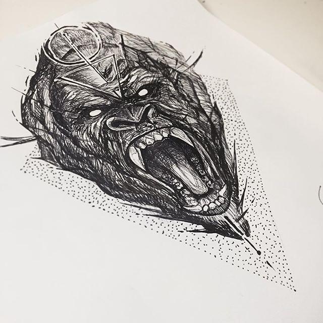 Custom gorilla piece.  #rawsketch #gorilla #silverbackgorilla #sketching…