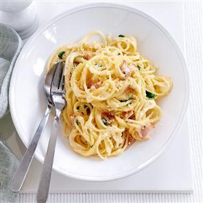 Healthier spaghetti carbonara