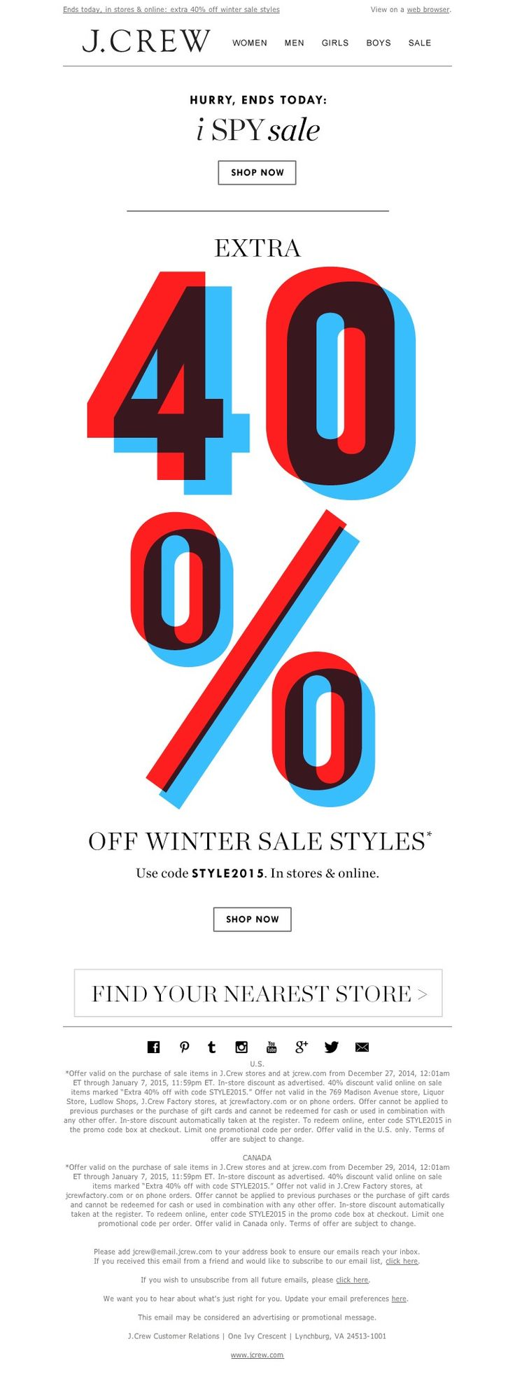 J.Crew - Last chance to get an extra 40% off winter sale styles