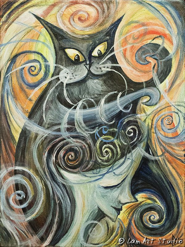 """Купить Картина """"Игры с разумом"""" - Кошки, кошка, кот, психоделика, мозг, фантастика, фантазия, медицина"""