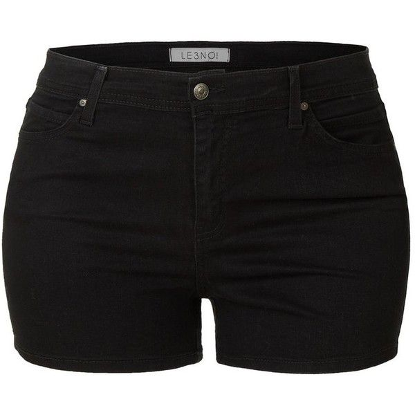 LE3NO Womens Plus Size Stretchy High Waisted Black Denim Shorts with... ($36) ❤ liked on Polyvore featuring shorts, bottoms, high rise jean shorts, long denim shorts, women's plus size shorts, stretch denim shorts and summer shorts