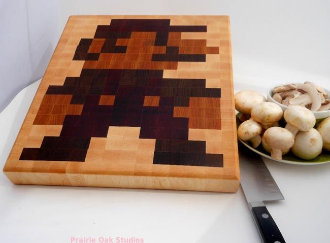 Super Mario Cutting Board (DIY?): Kitchens, Cutting Boards, Cut Boards, Mario Cut, Chops Boards, 8 Bit Mario, Super Mario, 8Bit Mario, Grains Cut