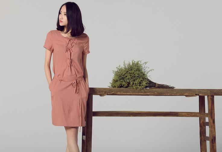 HERE Spring And Summer Cord Belt Short-Sleeved Dress
