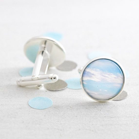 Blue Sky cufflinks - silver cufflinks featuring a miniature photography print of a blue sky and white clouds