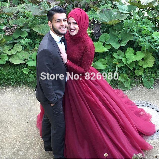 Red Wine Long Sleeve Hijab Islamic Muslim Wedding …