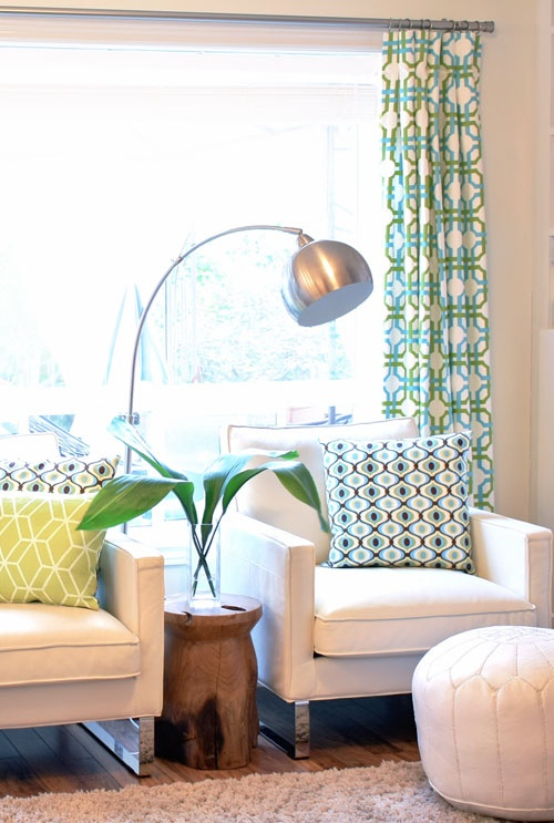 What do you get when you mix turquoise green and white - Turquoise curtains for living room ...