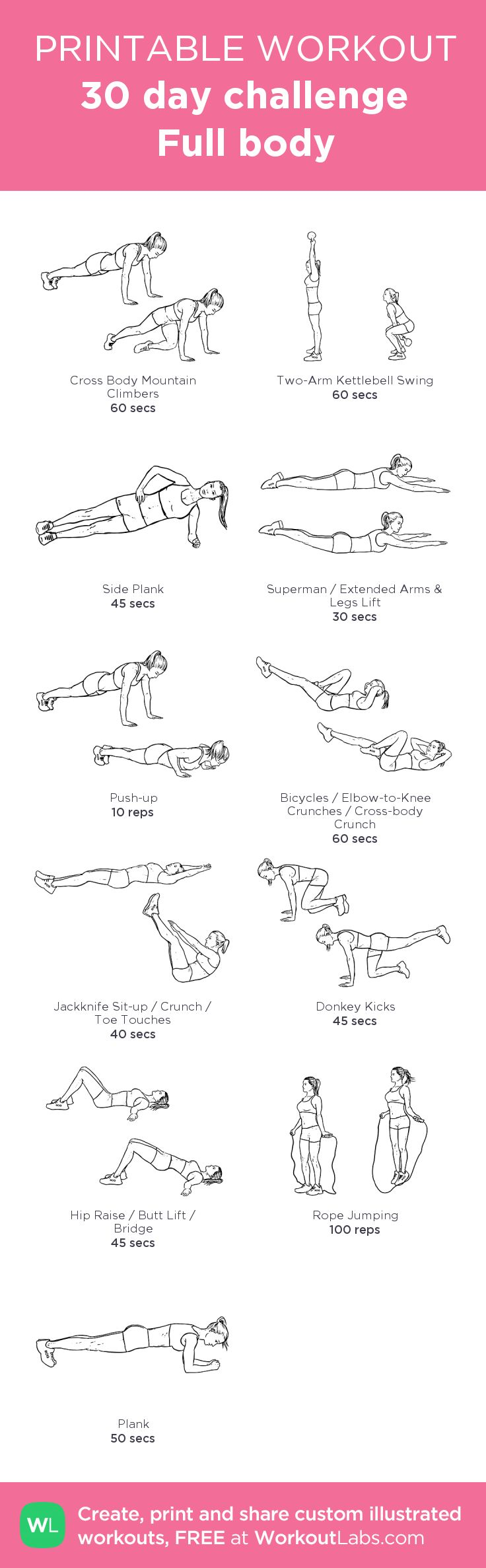 30 day challenge Full body: my visual workout created at WorkoutLabs.com • Click through to customize and download as a FREE PDF! #customworkout