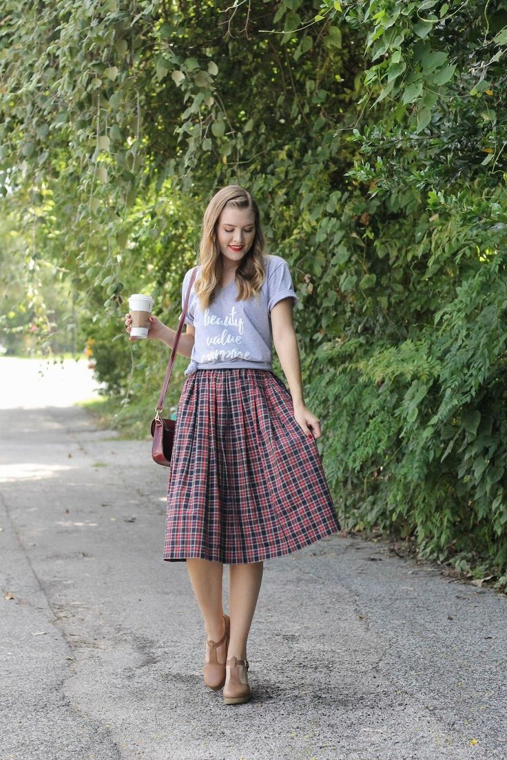 Cute causal look: gray tee, gorgeous plaid midi skirt, brown clogs/shoes. #ClogsShoesFashion