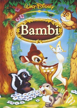 *BAMBI, 1942: The story of a young deer growing up in the forest after his mother is shot by hunters. Directors: James Algar, Samuel Armstrong (as Sam Armstrong) ,   Writers: Felix Salten (from the story by), Perce Pearce (story),  Stars: Hardie Albright, Stan Alexander, Bobette Audrey