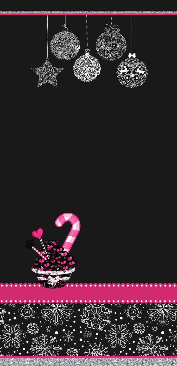 Wallpaper De Noel Boules De Noel Sur Fond Noir Avec Du Rose Fond D Ecran De N Wallpaper Iphone Christmas Pink Wallpaper Iphone Christmas Wallpaper