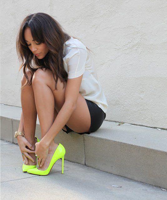 Louboutin Neon Pigalle Pumps: Neon Pigalle, Louboutin Neon, Fashion, Neon Louboutin, Style, Ashley Madekwe, Neon Shoes