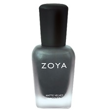 Dovima can be best described as: Smoky charcoal-black with strong silver shimmer and a velvety matte finish. #zoya