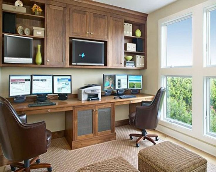 Furniture:Double Home Office Work At Home With A Room Design Computer Desk  Chair Floor