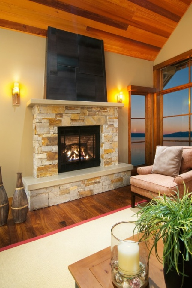 Luxury Fireplaces Luxury Homes Family Room In Luxury Home With Large Brick Fireplace