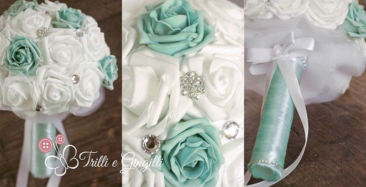 Bouquet gioiello con rose tiffany e bianche. Jewelery bouquet with white and tiffany roses. #bouquet #wedding