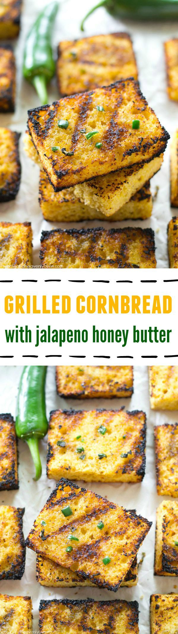 Grilled Cornbread with Jalapeno Honey Butter by wholeandheavenlyoven: Soft, irresistible homemade cornbread squares are slathered up with a kickin' jalapeno honey butter and then quickly cooked on the grill to crisp, buttery heaven.