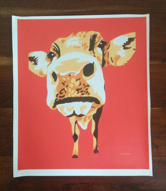 Deloris the Cow on Canvas 48.5cm x 40.6cm by ArtByJackieM on Etsy
