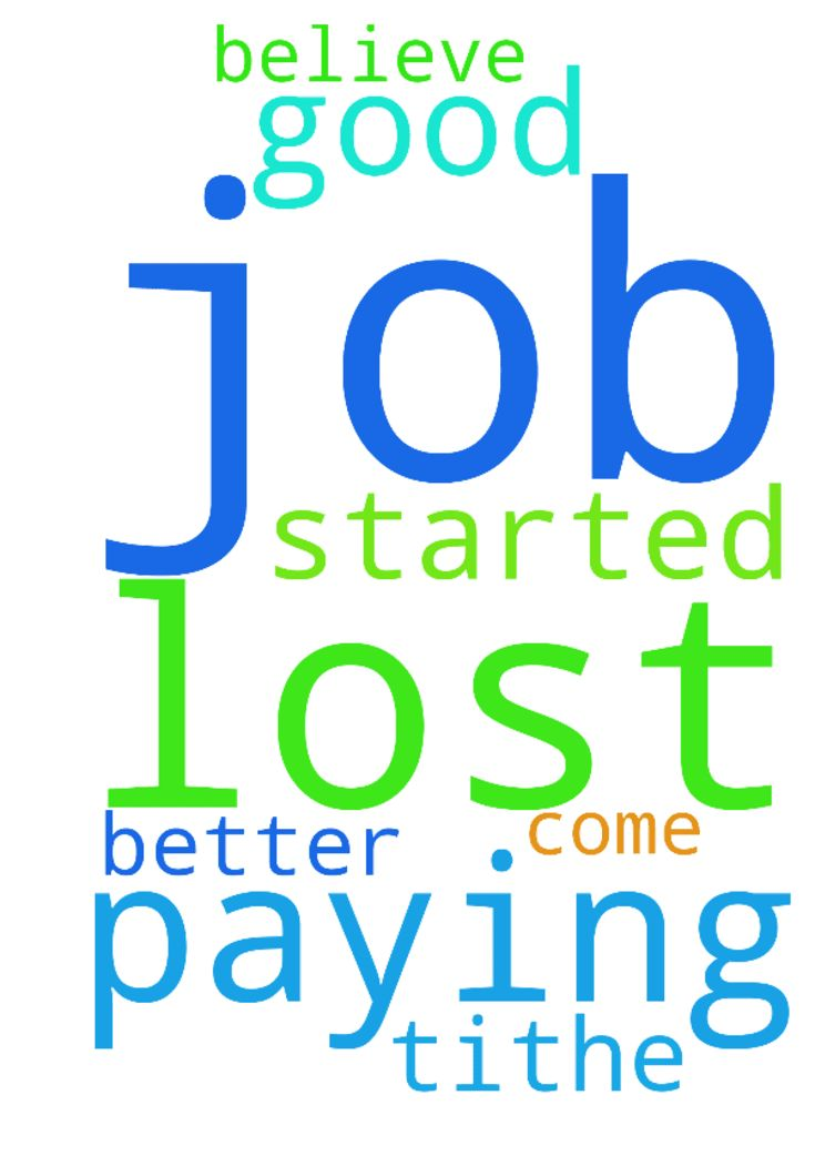 Lost job -  Started paying tithe and lost my job I need prayers for a better job, I believe good will come out of this  Posted at: https://prayerrequest.com/t/KC6 #pray #prayer #request #prayerrequest