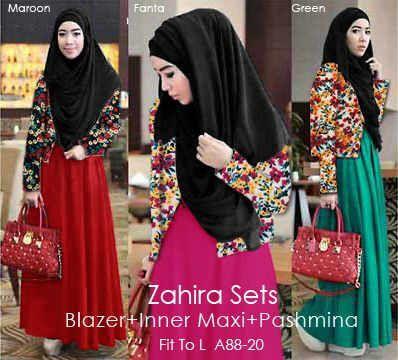 Zahira A88-20  Maxi Buntungan Rayon Spdx Super+ Blazer Wedges + Pashmina Hycon Seri.@Rp 109.000 Ecer@Rp 119.000  PO Ready 09 Okt  http://pho.to/7HS5H/cf