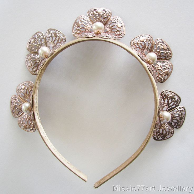 Rose Gold Fascinator Bella Flower Crown Races Headpiece Burlesque Headband