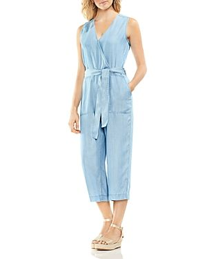 b3b363fca843 Chambray Cropped Jumpsuit. Vince Camuto