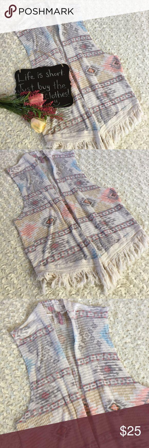 "Mauve aztec print sleeveless cardigan Adorable sleeveless cardigan by Mauve!! Aztec print. Very lightweight sweater material. Size S. 18.5"" arm pit to arm pit. 28.5"" length. Mauve Tops"