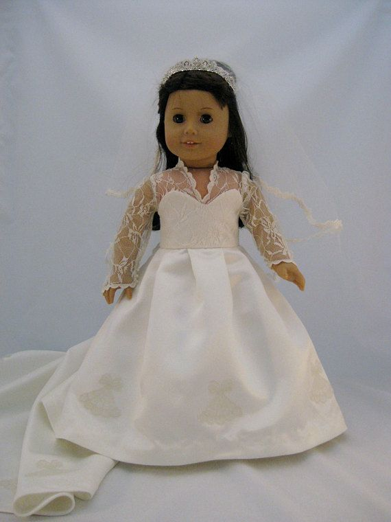 54d0704d96e This is a reproduction of The royal wedding gown worn by Kate Middleton and  resized for American Girl Dolls. This gown is so beautiful in its  simplicity of ...