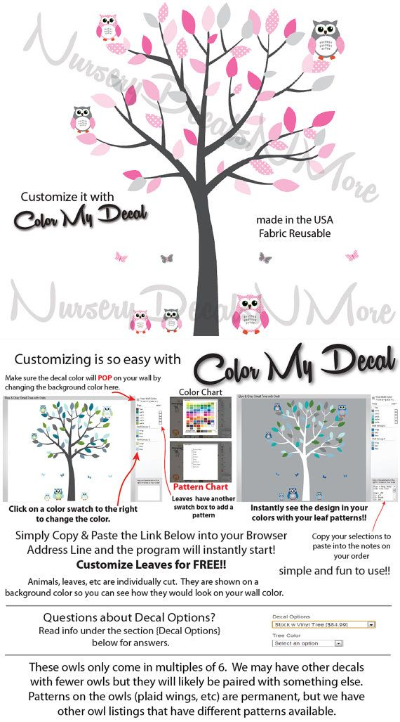 White Tree Wall Decals with Owls, Owl Decals, White Tree Stickers (Pink Gray) SOT on Etsy, $49.99