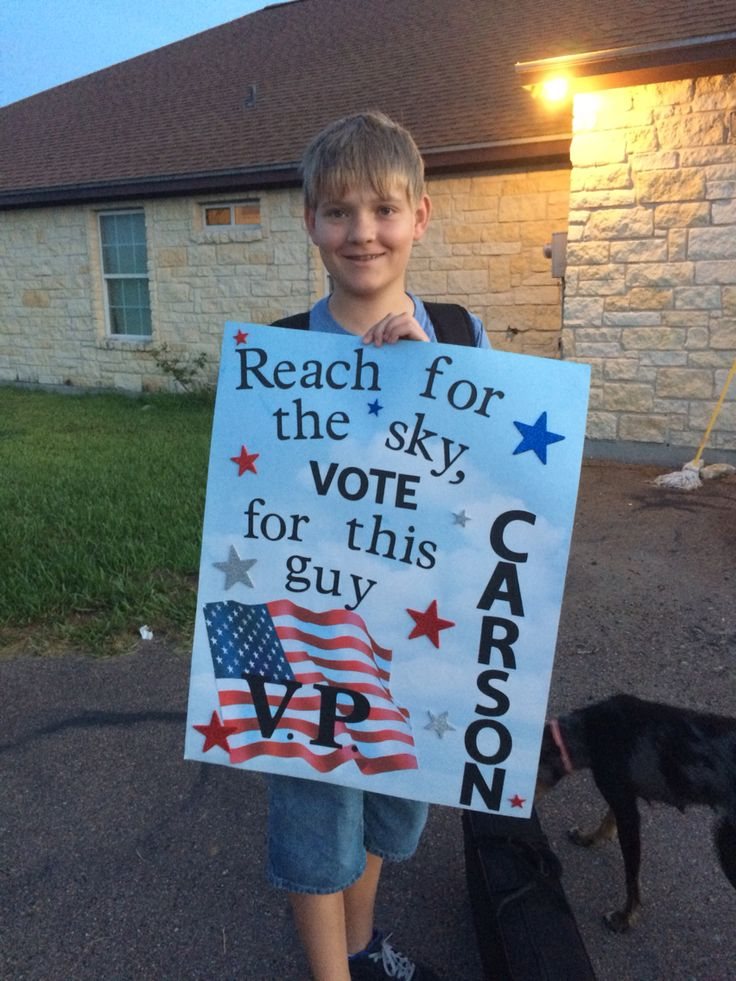 Carson's Student Council sign for Vice President. I picked up the poster board with the sky patten and the flag is a 12x12 scrapbook paper from Joann's. I cut out and used my Cricut for the letters.
