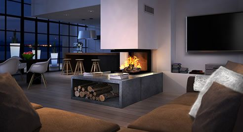triple sided fireplace by Chazelles with optional #hot air #ducting for maximum heat