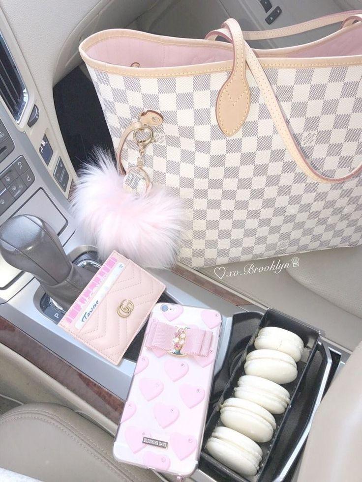 Louis Vuitton Neverfull  DAMIER AZURE Rose Ballerine lining