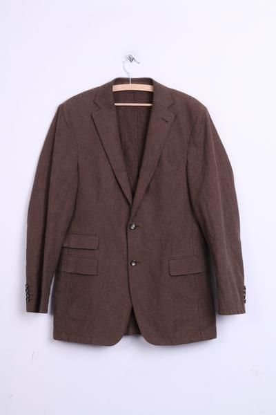Strellson Mens 94 M Blazer Top Suit Brown Cotton Single Breasted Top - RetrospectClothes