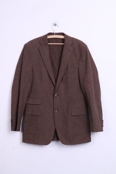 Strellson Mens 94 M Blazer Top Suit Brown Cotton Single Breasted Top - RetrospectClothes