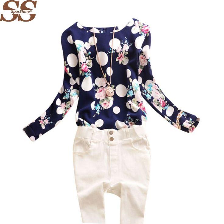 夏ヴィンテージ女性シフォンロングスリーブポルカドット花柄ブラウスシャツプラスサイズカジュアルトップス送料無料